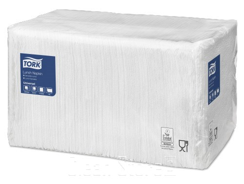 Servietten 1-lagig 33x33cm, 1/4-Falz weiß, 9x500 Stück (C05543)