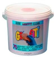 Graffititücher (70 Stück mit Tränkflüssigkeit) im Eimer