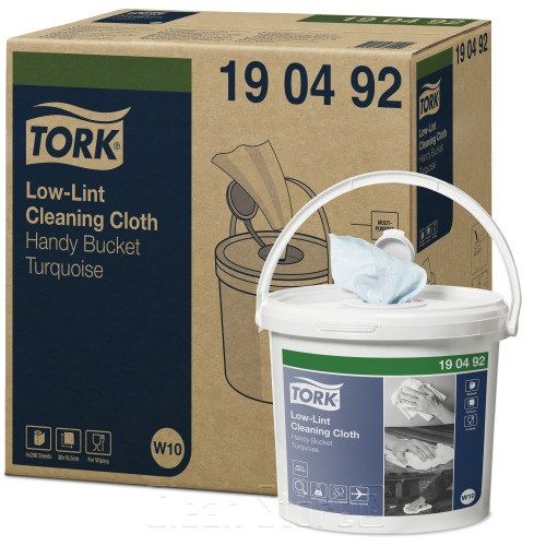 Tork Fusselarme Reinigungstücher Vliesstoff 1-lagig türkis (W10) Spendereimer inkl. Rolle, 4 Eimer à 200 Tücher Premium