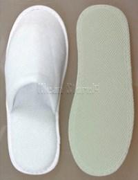 Luxus-Badeslipper, weiss, geschlossen, 5 mm EVA Sohle, Länge: 29 cm
