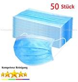 50x Mundschutz, Atemschutz, 3-lagig, blau